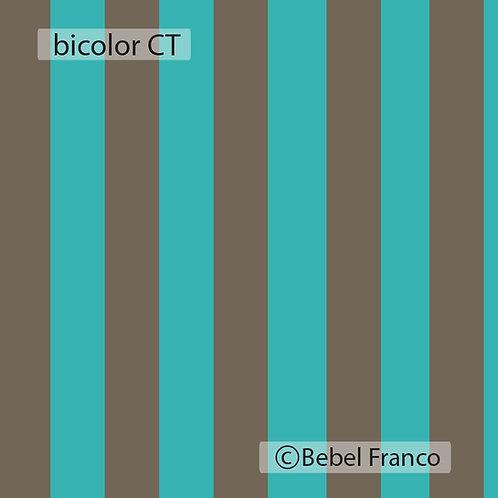 papel de parede listra bicolor cimento e turquesa