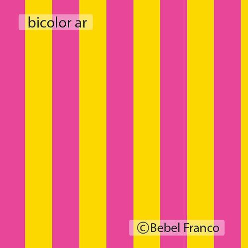 Tecido com estampa para decoração listra Bicolor amarelo e rosa