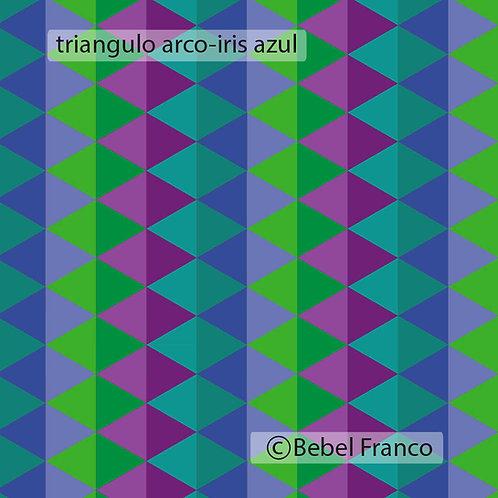 Tecido com estampa para decoração triângulo arco-iris azul