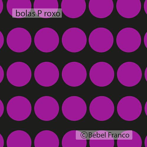 Tecido com estampa para decoração bolas roxas com fundo preto