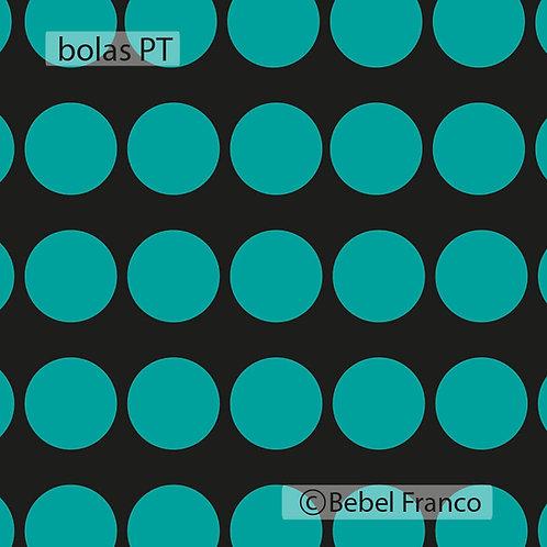 papel de parede bolas turquesa com fundo preto