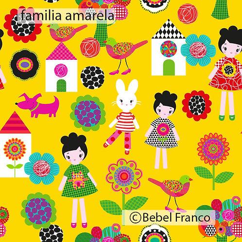 papel de parede infantil estampa familia amarela