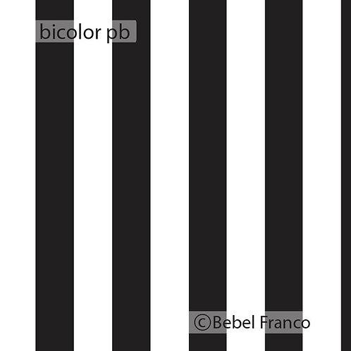 Tecido com estampa para decoração listra bicolor preto e branco