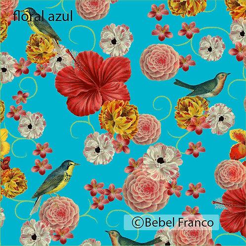 papel de parede estampado floral azul