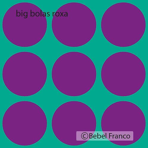 Tecido com estampa para decoracao big bolas roxo com fundo azul
