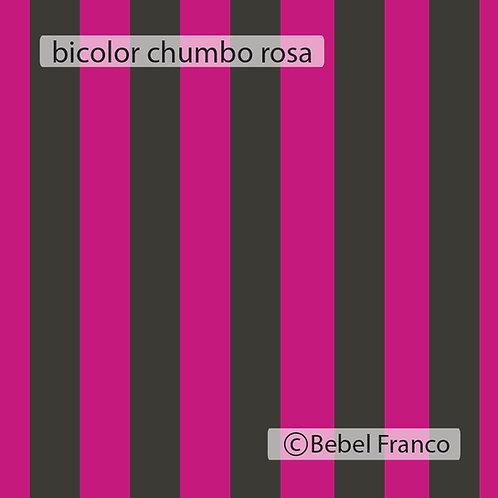 Tecido com estampa para decoração lista bicolor cimento e rosa fluor