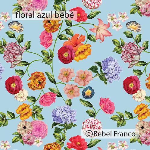 papel de parede estampa floral azul claro