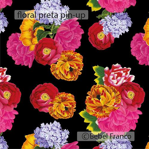 Tecido com estampa para decoração - floral preta pin-up