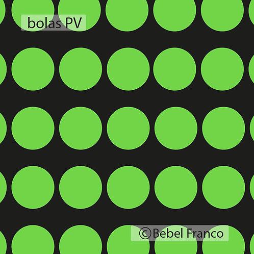Tecido com estampa para decoração bolas verdes com fundo preto