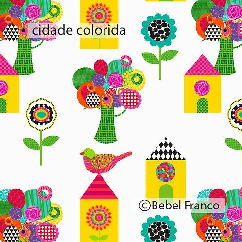 tecido para estofado cidade colorida