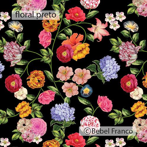 Tecido com estampa floral preto