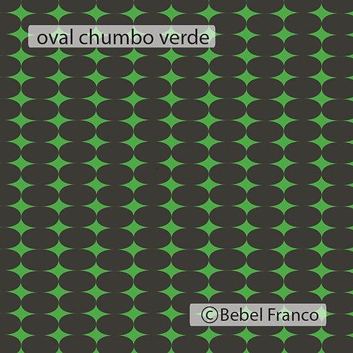 papel de parede estampa oval verde fluor