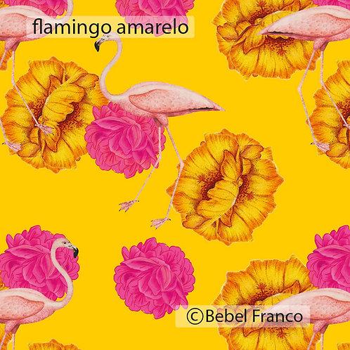 papel de parede estampa flamingo amarelo