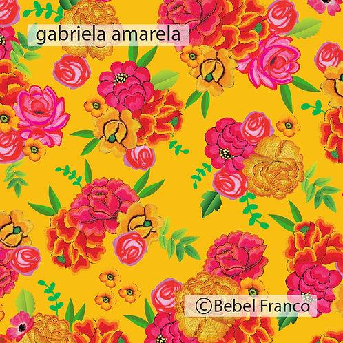 Tecido com estampa para decoração Gabriela amarela