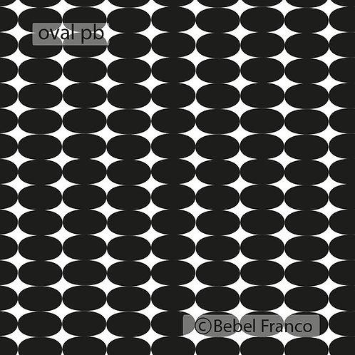 Tecido com estampa para decoração - oval preto e branco