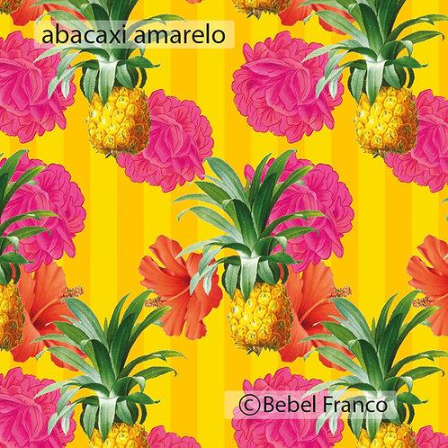 papel de parede estampa abacaxi amarelo