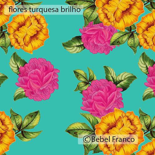papel de parede estampa flores turquesa brilho