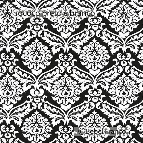 papel de parede rocóco preto e branco