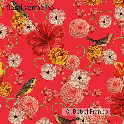 tecido floral vermelho