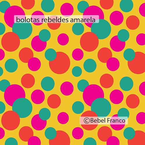 Tecido com estampa para decoração com bolas coloridas e fundo amarelo