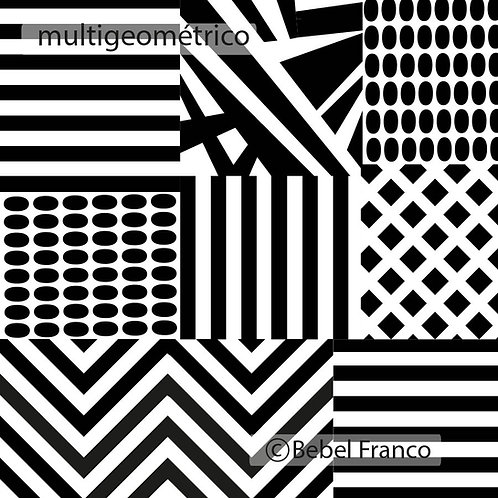 Tecido com estampa para decoração - multigeométrico