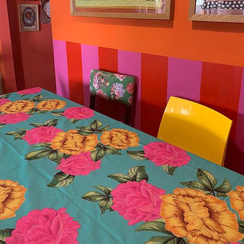 toalha de mesa flores azul