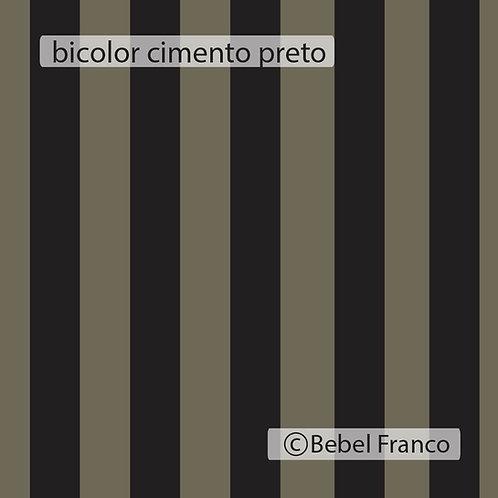 Tecido com estampa para decoração listra bicolor cimento e preto