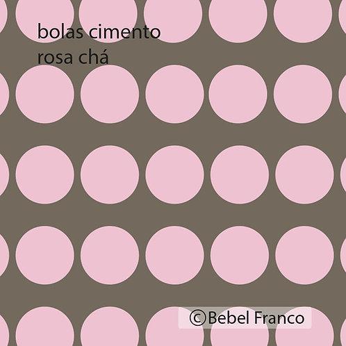Tecido com estampa decoração bolas cimento rosa chá