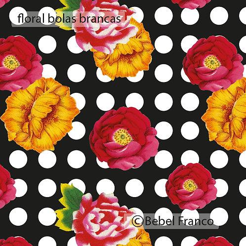 Tecido com estampa para decoração - Floral fundo preto com bolas brancas