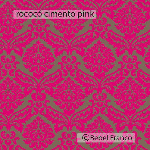 papel de parede estampa rococó cimento e pink