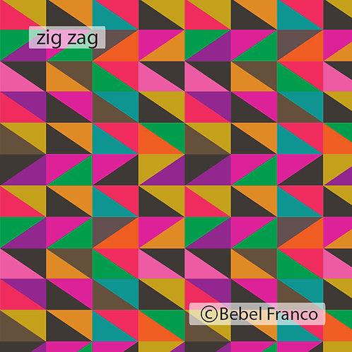 Tecido com estampa colorida zig-zag