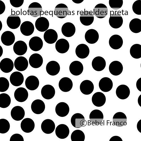 papel de parede bolas rebeldes pretas fundo branco