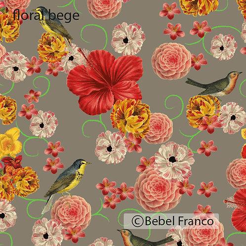 papel de parede estampado floral bege