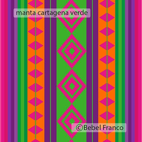 Tecido com estampa para decoração manta cartagena verde