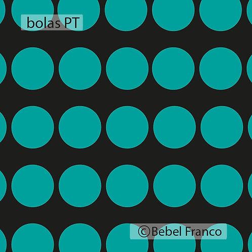Tecido com estampa para decoração bolas turquesa com fundo preto