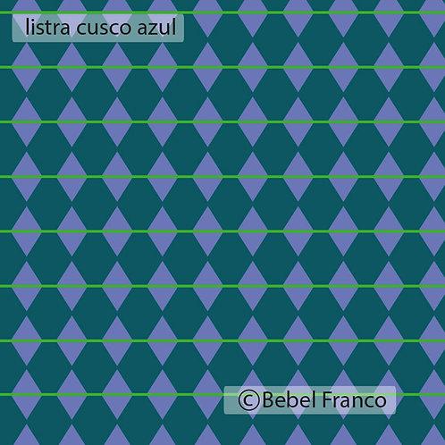 Tecido com estampa para decoração listra cusco azul