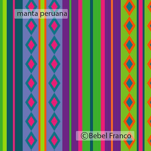 Tecido com estampa para decoração manta peruana