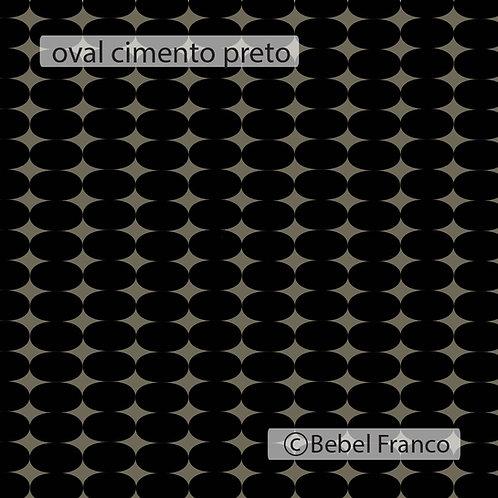 Tecido com estampa para decoração oval cimento preto