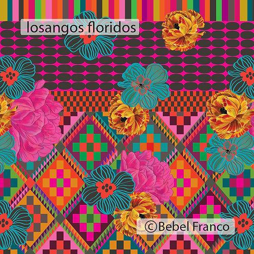 Tecido com estampa para decoração losangos floral