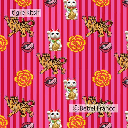 Tecido com estampa para decoração - tigre  kitsch