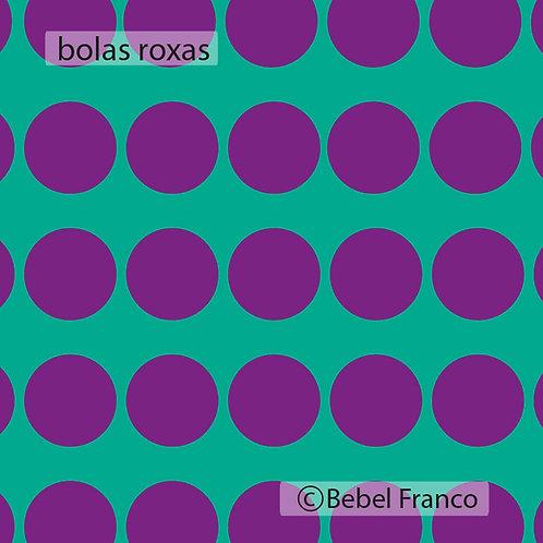papel de parede bolas roxas com fundo turquesa