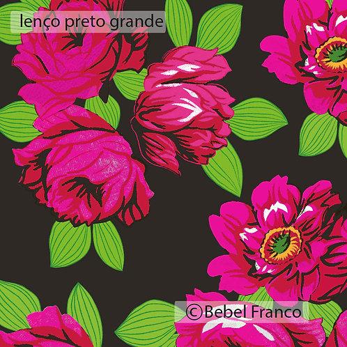Tecido com estampa floral lenço preto grande