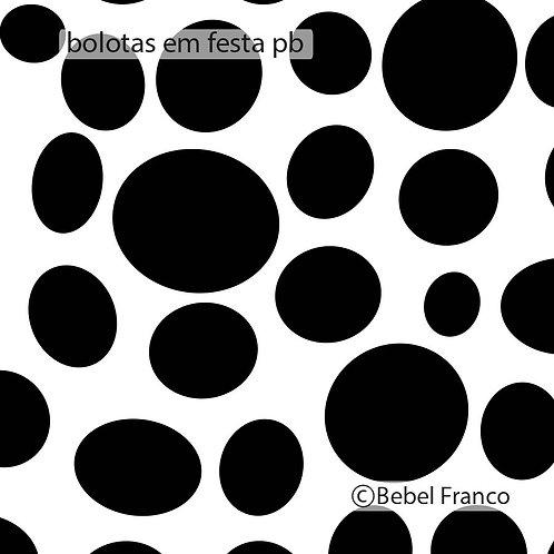 Tecido com estampa para decoração bolas irregulares pretas fundo branco