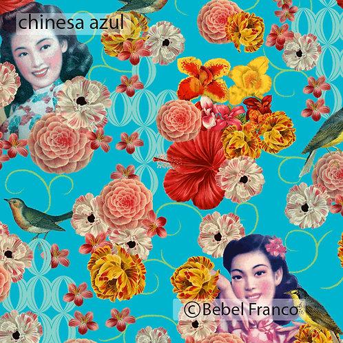 Tecido com estampa para decoração - chinesa azul