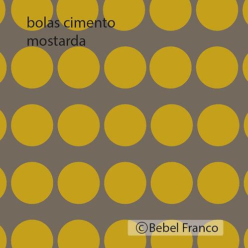 papel de parede bolas cimento mostarda