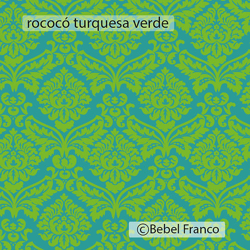 papel de parede rococó turquesa verde