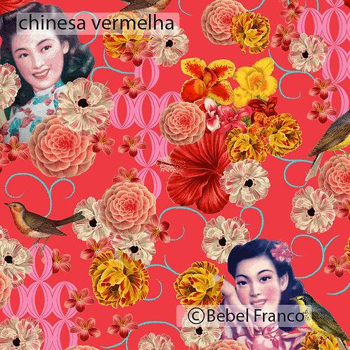 Tecido com estampa para decoração - chinesa vermelha
