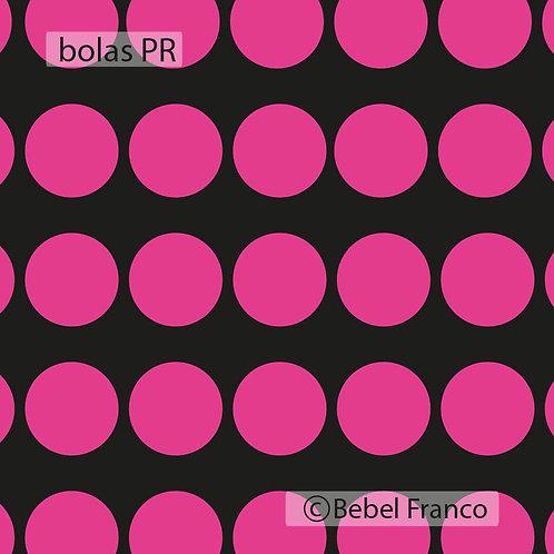 Tecido com estampa decoração bolas rosas com fundo preto