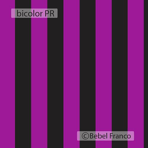 Tecido com estampa para decoração listra Bicolor Preto e Roxo