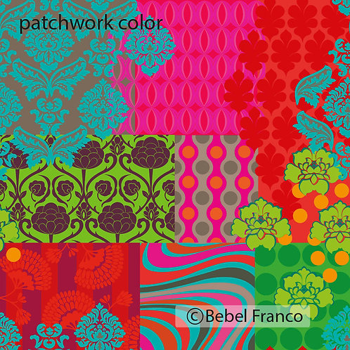 papel de parede estampa colorida patchwork color
